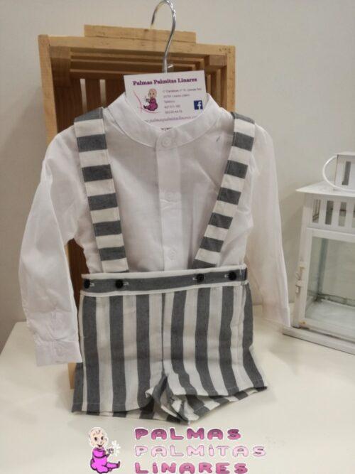 Conjunto de camisa y peto de rayas 1